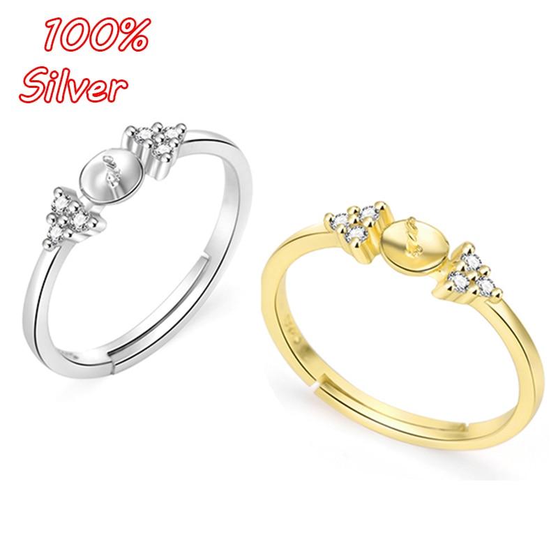 BITWBI auténtico S925 de plata esterlina Color abierto Base de anillo en blanco Fit perla Fabricación de joyas de cristal accesorios mujer regalo hombre