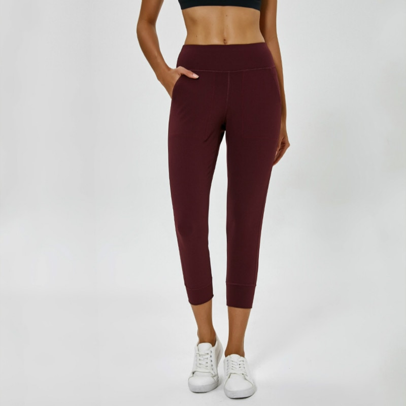 Pantalones Capri sueltos para correr de NWT, pantalones Capri de tela transpirable para entrenamiento con dos bolsillos laterales para mujer