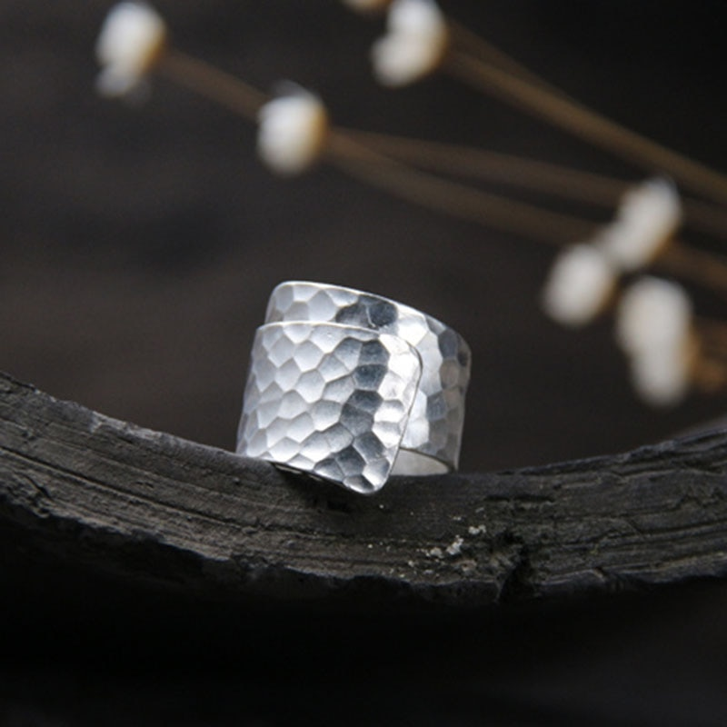 Silver 925 Jewelry Thai Handmade Silver Jewelry Opening Ring Male Pure Silver Retro Ring Party Jewelry Width 17.50 wt052  - buy with discount