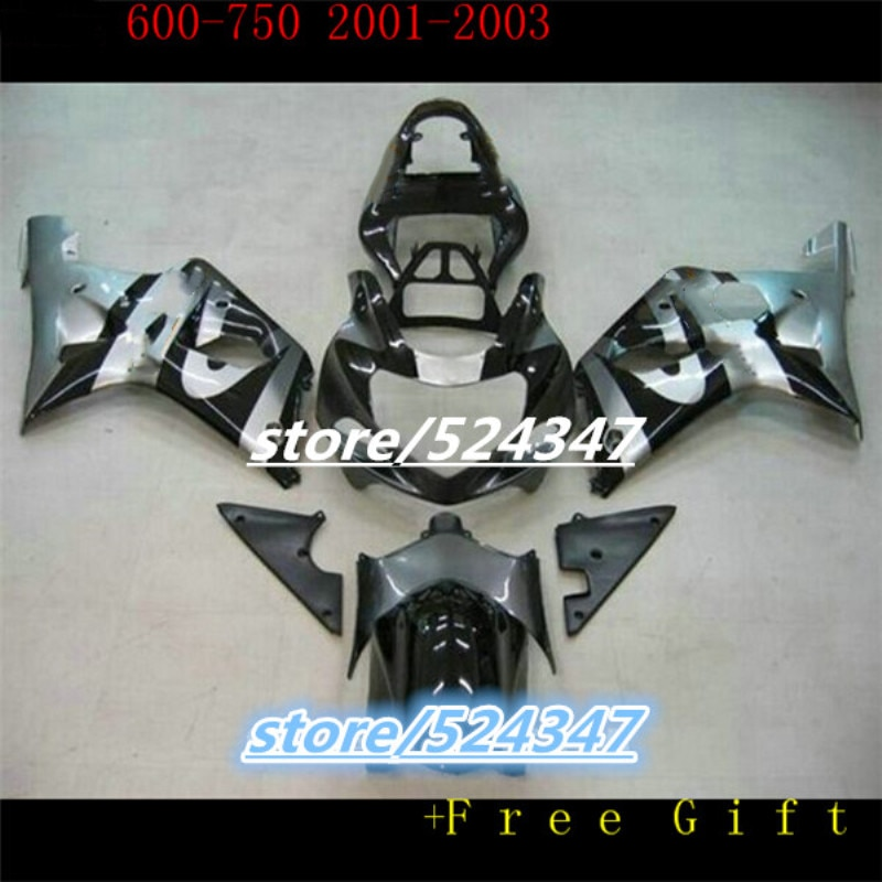 طقم انسيابية حقن ABS لسوزوكي ، هيكل GSXR600 750 GSXR 600 K1 2001 2002 2003 01 02 03 ، أسود وفضي ، جديد