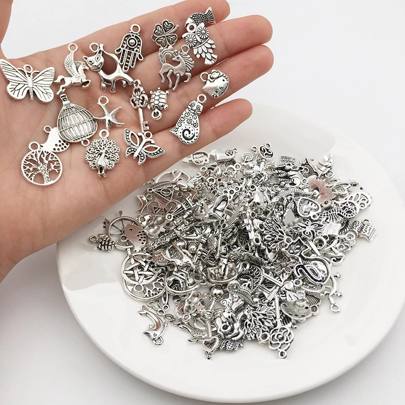 AliExpress - 30pcs /lot Vintage Mixed Animal Birds Leaf Charms DIY Bracelet Pendant Tibet Silver Charms Neacklace Clips Jewelry Making