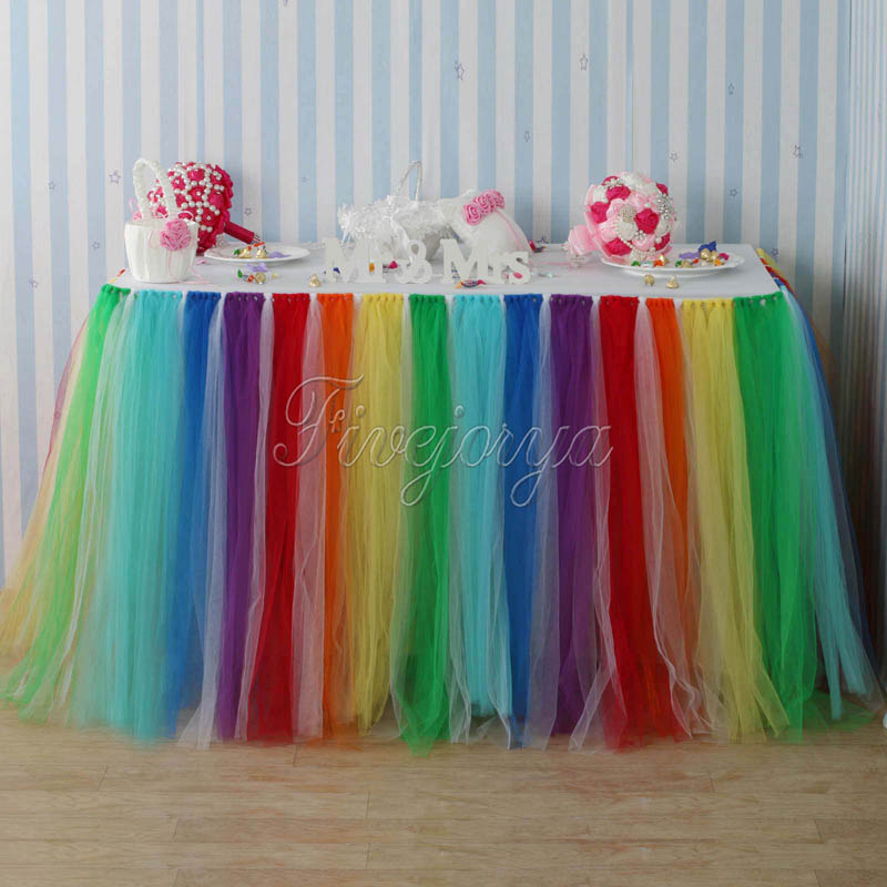 Bunte Regenbogen Stil Tüll Tutu Tisch Rock 100 cm x 80 cm für Hochzeit Gefälligkeiten Party Baby Dusche Dekoration Hause textil