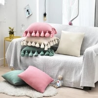 knit pillow solid ivory pink green pillowcase acrylic ball tassel sofa bed nursery room decorative