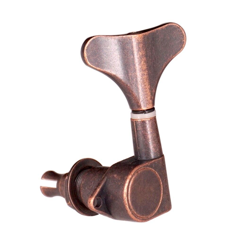 Paquete de 4 clavijas de afinación de bajos, afinadores de cabeza de máquina para bajo, bronce púrpura 4L, aleación de Zinc, sólido