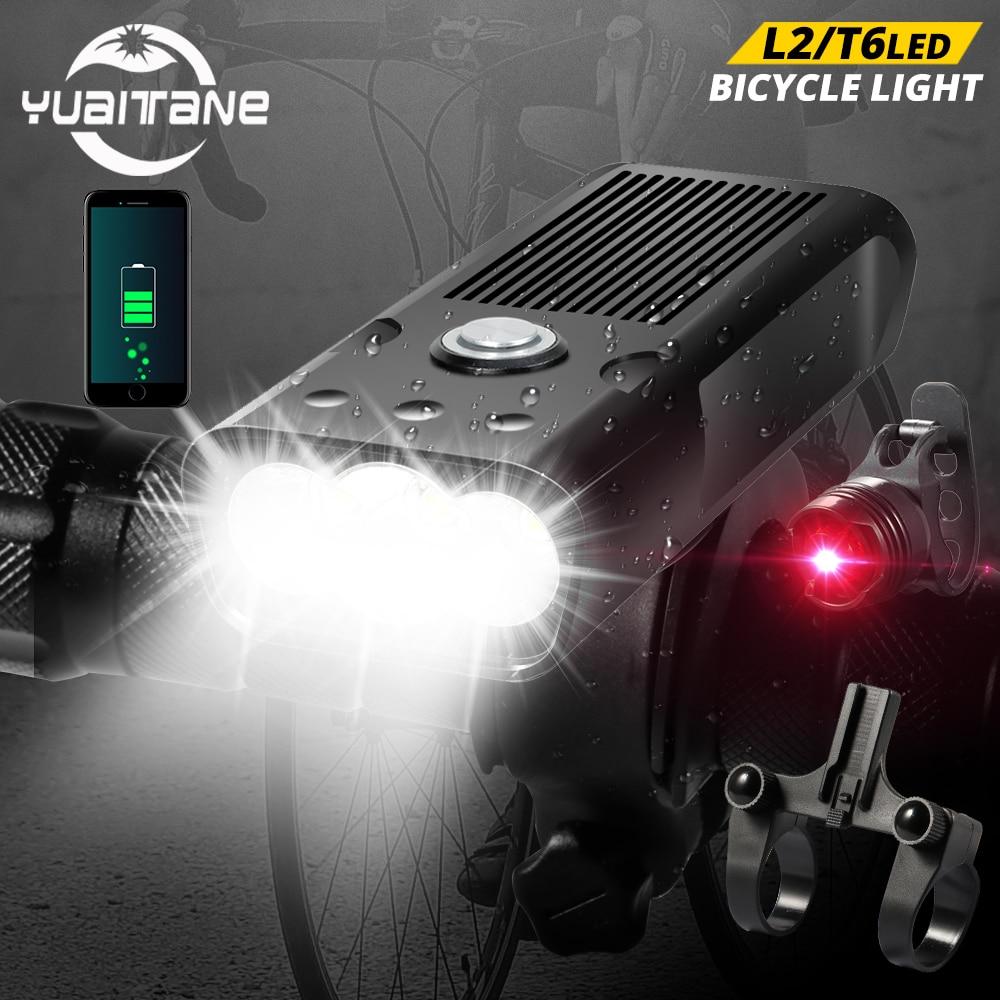 5200mAh MTB Bike Front Light Bicycle Light 2 Holder Mount T6/L2 LED Flashlight Power Bank Bike with Taillight Gift Waterproof