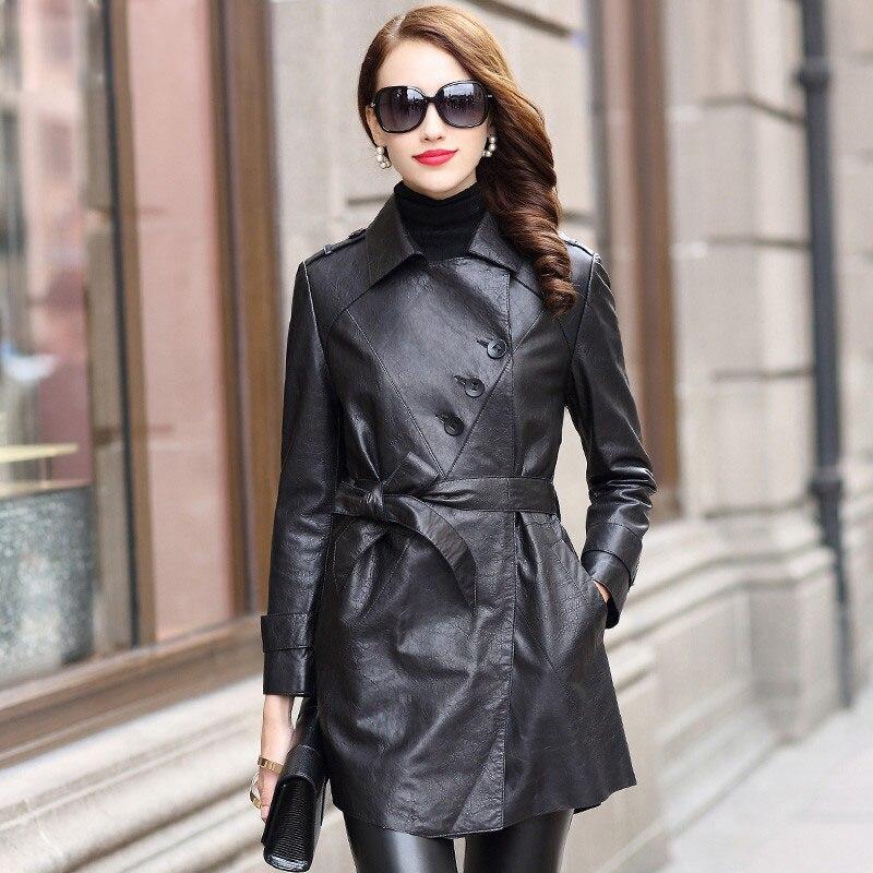 Slim Black Fashion Mid-Length Women 100% Real Sheepskin Leather Coat Simple Locomotive Style Sashes Pockets High Quality Jackets