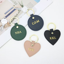 Free Custom Initial Letters Girls Saffiano Leather Keychain Round Key Ring Female Key Chain Gift Wit