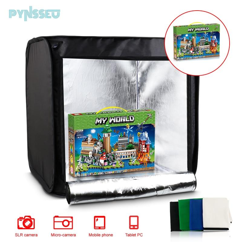 PYNSSEU 4 الخلفيات صندوق إضاءة 40 سنتيمتر صغيرة قابلة للطي استوديو الصور مع المزدوج LED قطاع أضواء لاطلاق النار آلة تصوير فوتوغرافي عدة