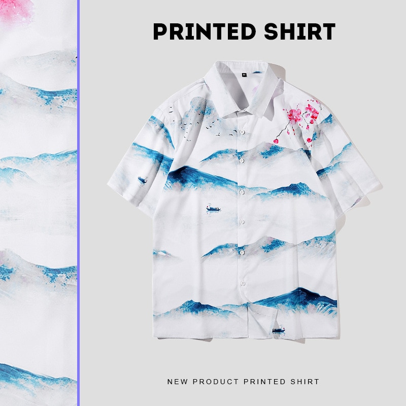 2021 Summer Fashion White Landscape Print Men's Hawaiian Shirts Japanese Harajuku Loose Casual Beach Shirts Short Sleeve