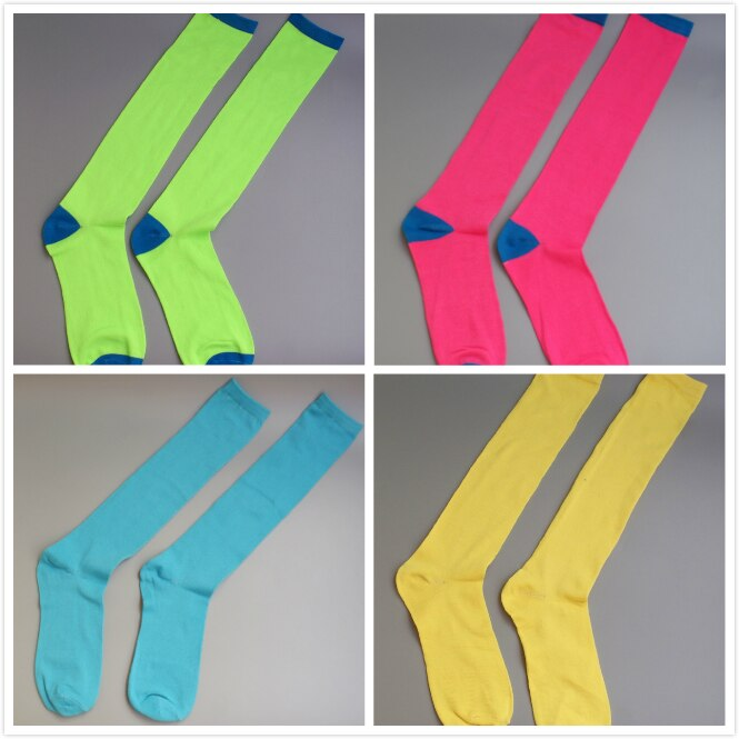 New Women Neon colors Knee high Socks for girls soft sock street dance neon green hot pink