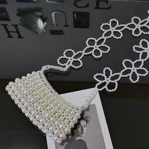 Brand Hand-woven Pearl Bags Lady Beaded Shoulder Bag Women Party Vintage Handbag Ins Small Flap Bag Cross body Bag 2020