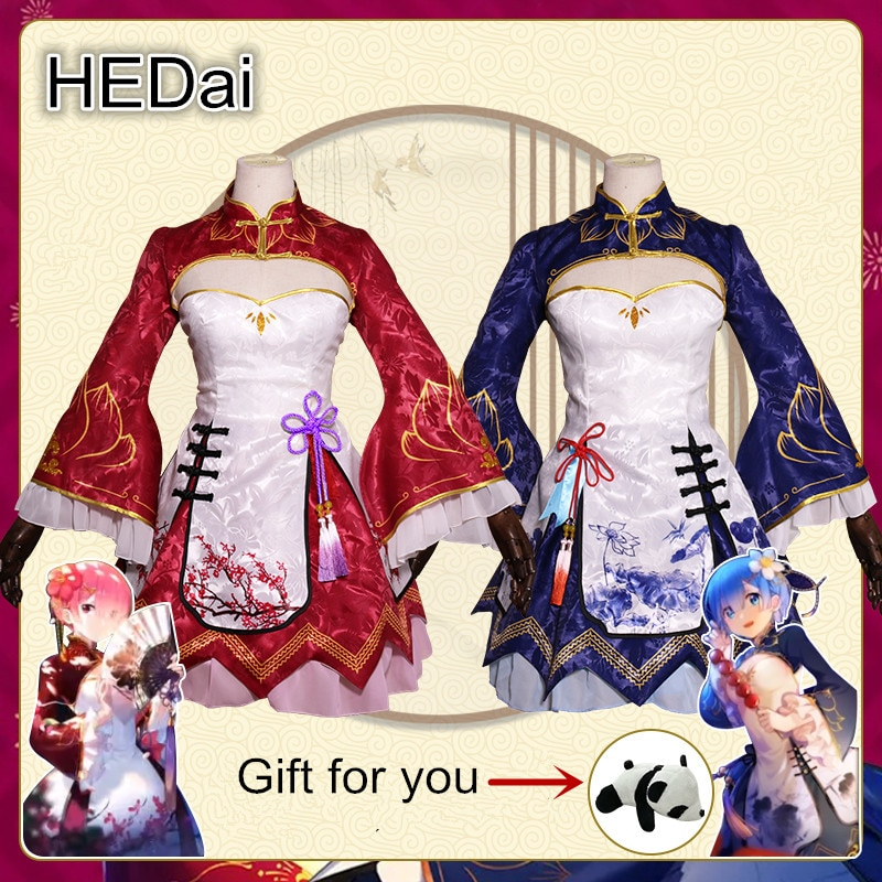 Rem y Ram Cosplay traje chino Cheongsam vestido de mujer animé Lolita Cosplay trajes