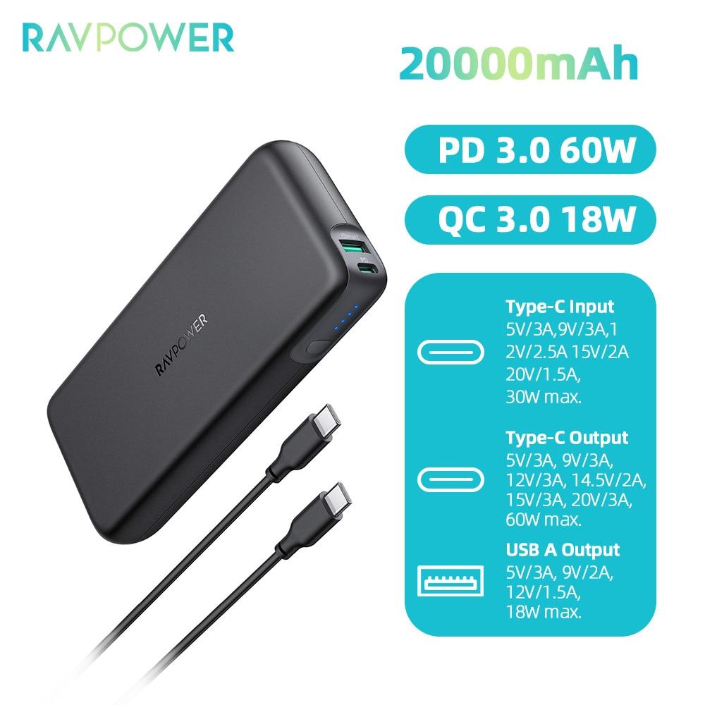 RAVPower 20000mAh USB-C PD 60W