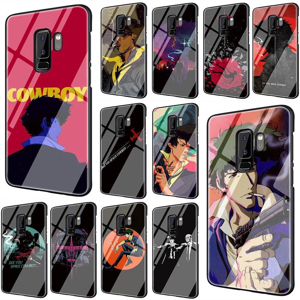 EWAU Cowboy Bebop Anime Couverture de Téléphone En Verre Trempé Pour Galaxy S7 bord S8 9 10 Plus Note 8 9 10 A10 20 30 40 50 60 70