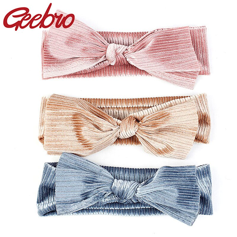 Geebro-bandeaux en coton pour filles   Bandeau en velours avec nœud argenté, accessoires de cheveux décontractés pour filles, bandeau pour femmes