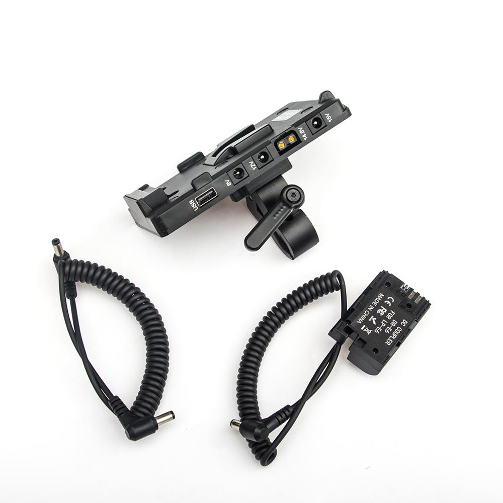 FOTGA Power Supply Systerm Battery Plate Adapter V-Lock D-tap Plate with LP-E6 cable for Broadcast SLR HD camera enlarge