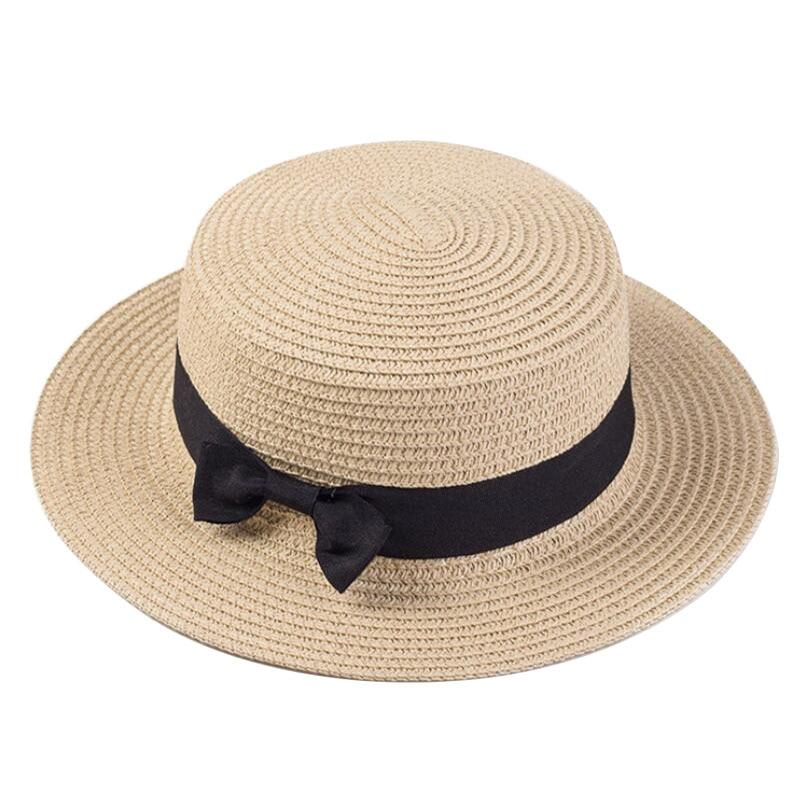 Летние шляпы для женщин, шляпа от солнца, Пляжная Женская модная плоская шляпа с бантом, Панама, повседневные солнцезащитные кепки для женщи...
