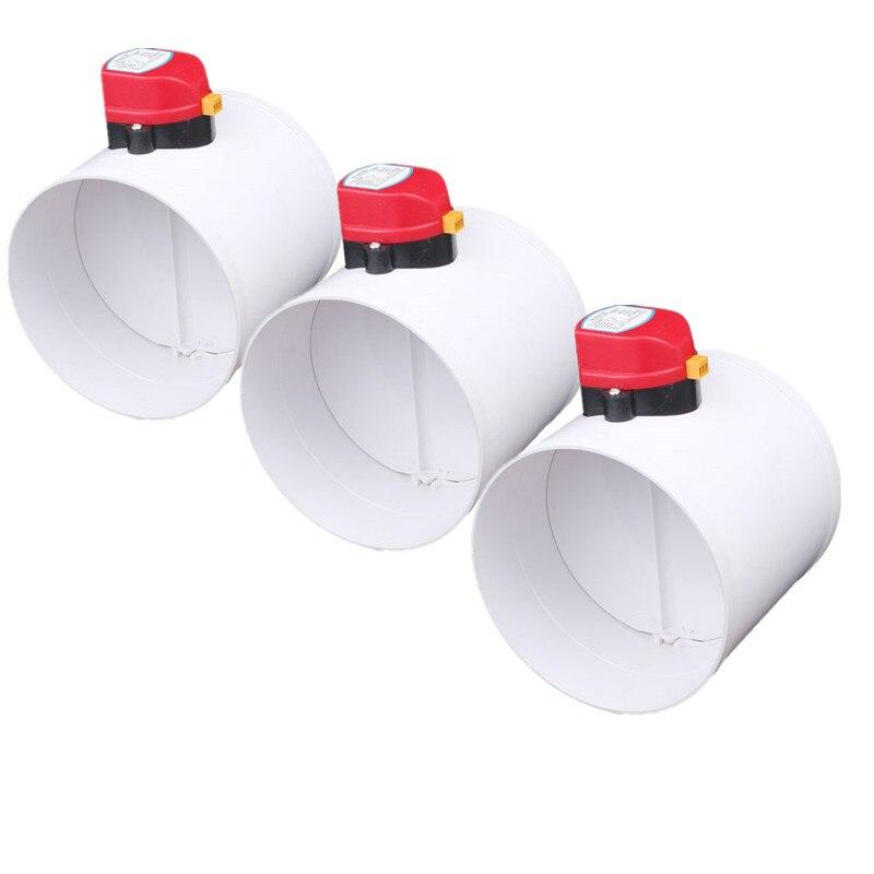 3 uds. 110mm 220V/ 12V /24V DC, amortiguador de aire de plástico HVAC, válvula de actuador de conducto eléctrico para válvula de tubo de ventilación, sistema de aire fresco