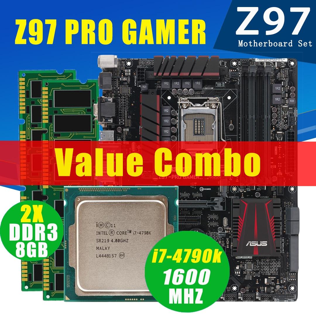 اللوحة الأم Asus Z97 PRO GAMER مزودة بمعالج Intel Core i7 4790K 2x8GB DDR3 طقم اللوحة الأم M.2 4.4GHz SATA سطح المكتب Z97 مجموعة اللوحة الأم