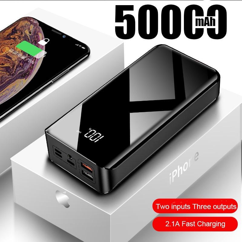 Linterna portátil de pesca de gran capacidad de 50000mAh con Carga rápida de dos vías para teléfono móvil Huawei Xiaomi