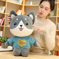 new huggable new husky plush toy cat two puppies doll rag doll child bed sleeping cute pillow living room children kids gift