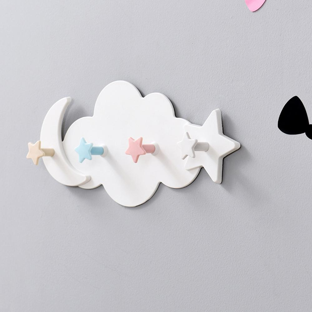 Plastic Star Cloud Hook Clothes Storage Hanger Rack Self Adhesive Wall Mounted Coat Hook Kid Children Bedroom Room Decoration