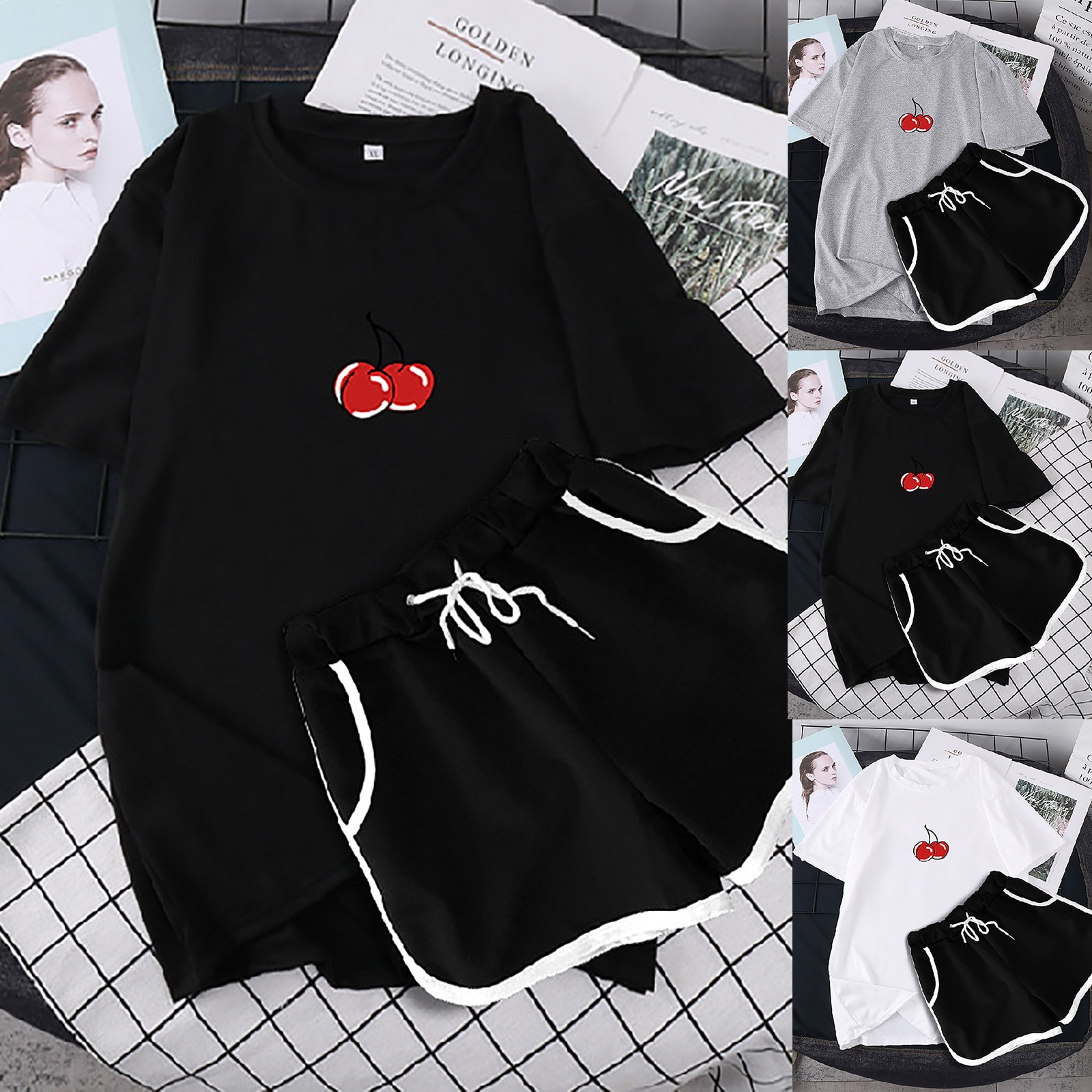 ISHOWTIENDA Women Two Piece Drop Sleeves Set Short Sleeve O-neck Paneled T Shirt Shorts Костюм Спортивн Женский Women Set