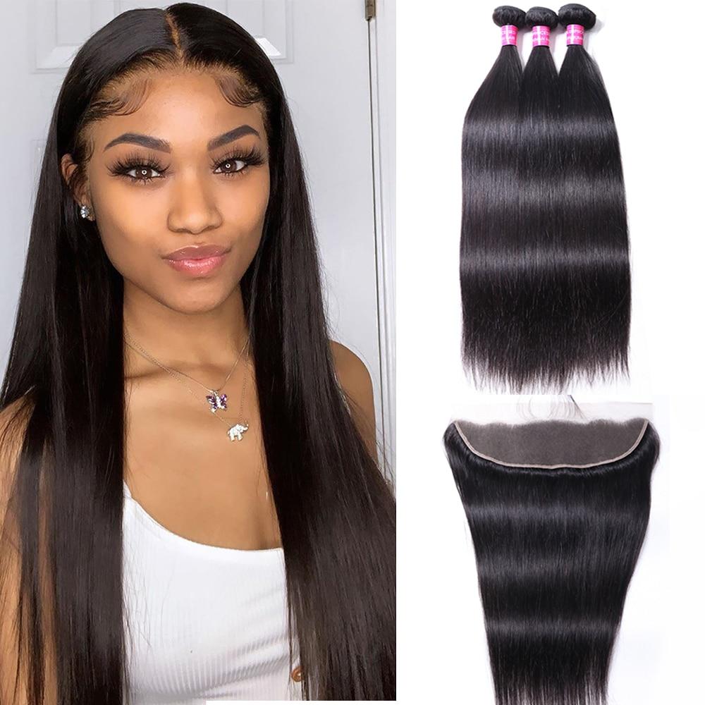 Wigmy-وصلات شعر برازيلية طبيعية ، مجموعة من 3 ، شعر ناعم ، لون طبيعي ، 13x4 ، مع غطاء دانتيل