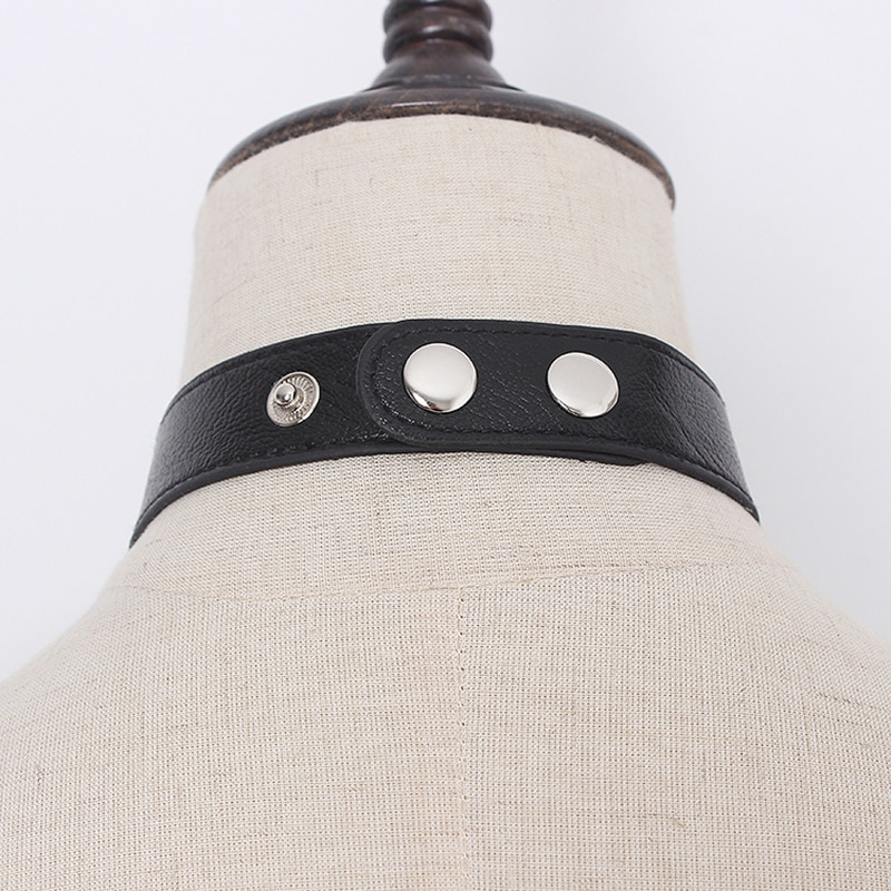 [EAM]  Pu Leather Black Metal Split Joint Cool Neck Tie Personality Women New Fashion Tide All-match Spring Autumn 2021 1Y078