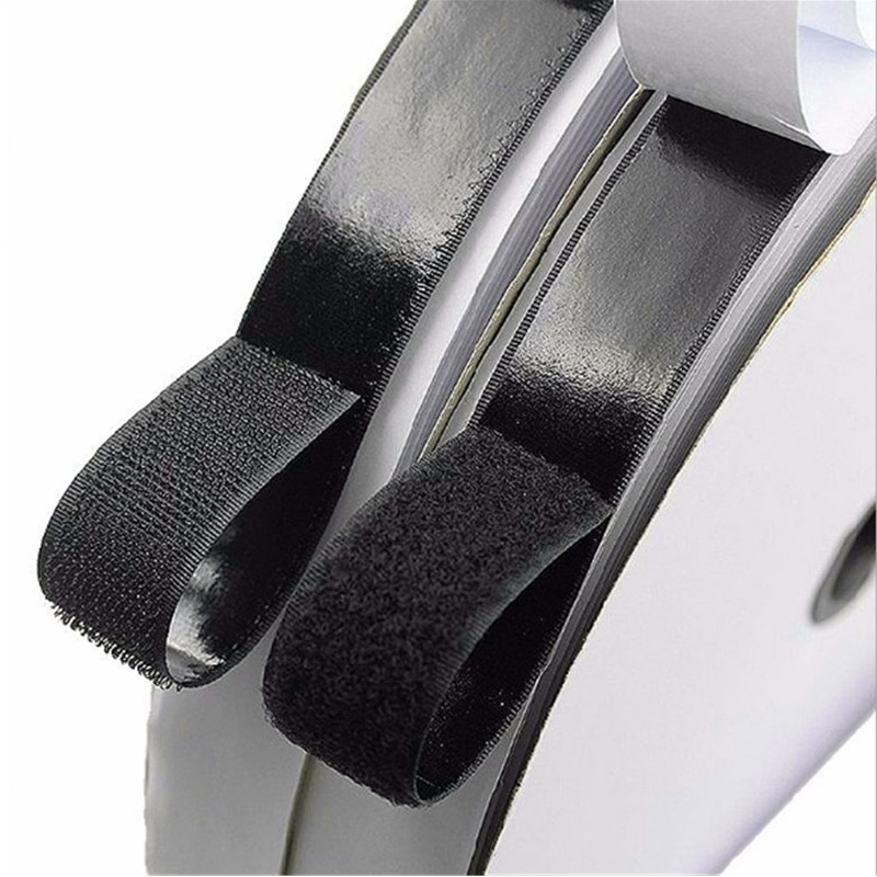Velcro adhesivo blanco y negro con pegamento, gancho y bucle autoadhesivo fuerte...