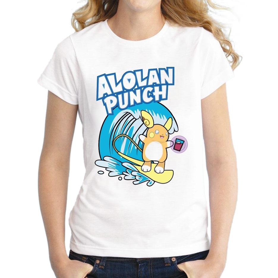 2020 Summer T shirt Alolan Punch Women Lovely Pikachu Shirt Good Quality Comfortable Breathable T-Shirts