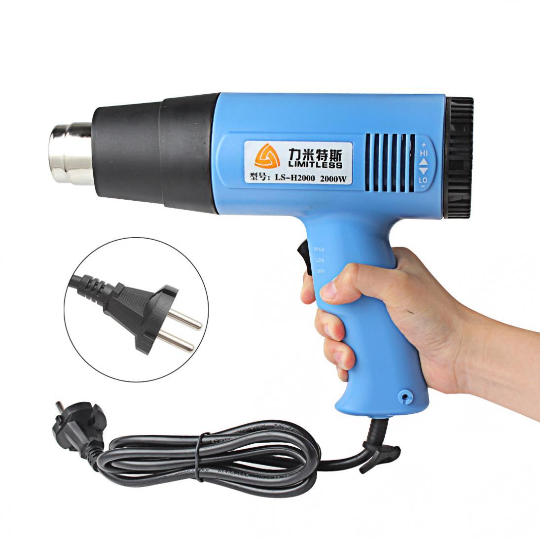 Pistola de aire caliente AC 220V 2000W temperatura ajustable pistola de calor Industrial pistola de calor Hotair enchufe de la UE para decapado retráctil DIY