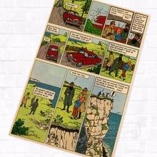 Hijacked TinTin dibujos animados cómic Vintage póster Retro de Kraft recubierto decorativo DIY pared lienzo adhesivo hogar Bar arte carteles de decoración Gi