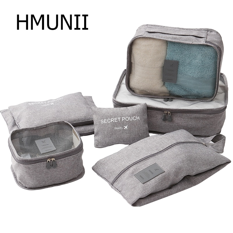 Hmunii organizadores de embalagem roupas cubos sacos de sapato malotes de lavanderia para mala de viagem bagagem, organizador de armazenamento 7 conjuntos cinza