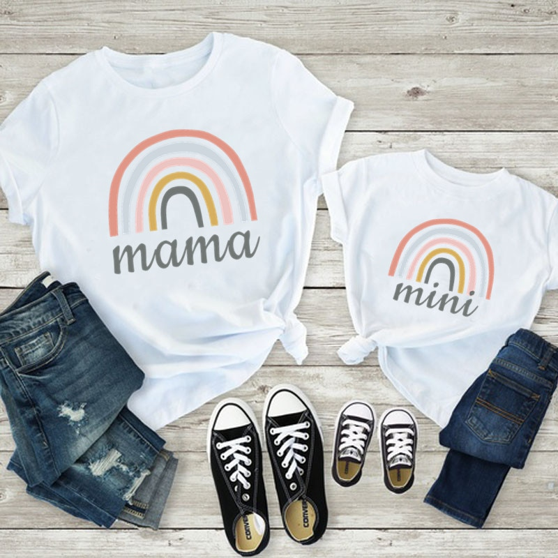 1Pc Funny Family Look Mama and Mini Rainbow Print Mother and Daughter Clothes Summer Kids Clothes Pr