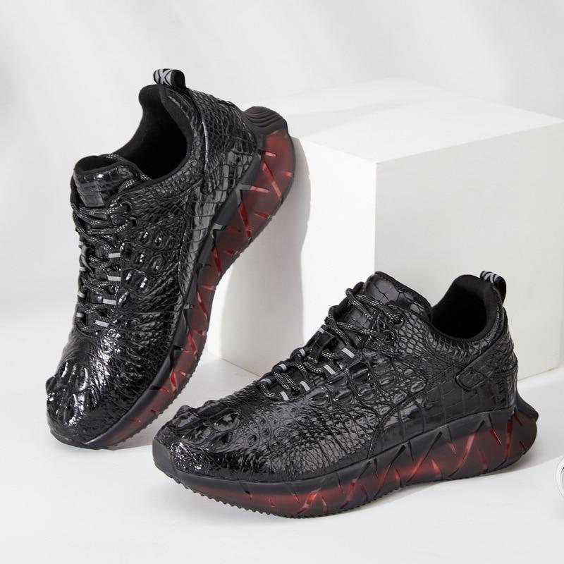 Новинка 2021, Мужская Повседневная дышащая Спортивная обувь из натуральной крокодиловой кожи на шнуровке для мужчин, Высококачественная Диз...