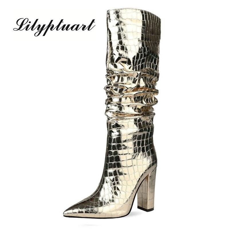 الأوروبية والأمريكية نمط 2020 جديد كعب سميك أضعاف أحذية عالية الجانب سستة الأحذية النسائية الفضة الأحذية حجم كبير أحذية نسائية