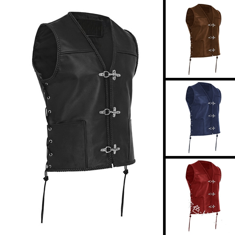 Medieval Men Vest Black Biker Motorcycle Hip Hop Waistcoat Knight Retro Vest Punk Male Faux Leather Solid Sleeveless Jacket PU