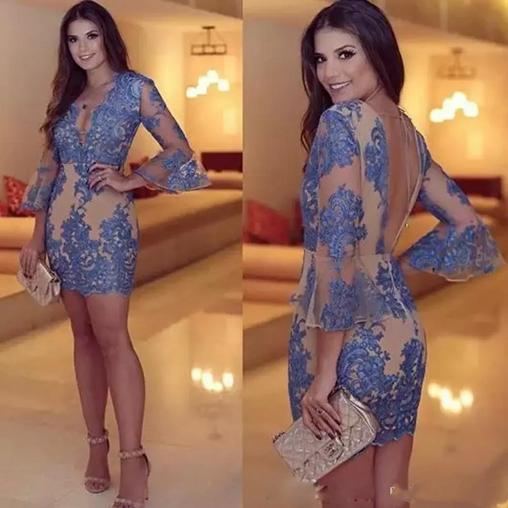 Sexy Blue Cocktail Dresses Backless Long Sleeve V Neck Shealth Lace Prom Dress See Through Sexy Mini Evening Gowns