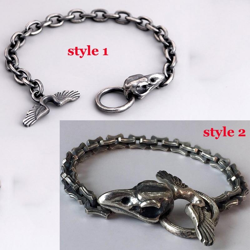 Luxo masculino pulseira real 925 sterling silver crow crânio feito à mão pulseira vintage punk pesado elo de corrente biker bangle jóias
