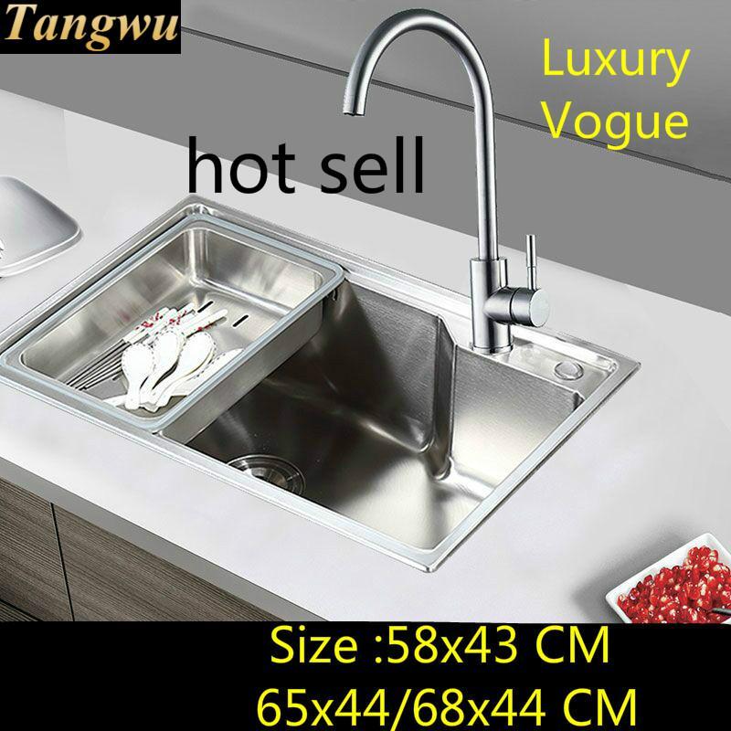 Évier de cuisine Standard individualité   Qualité alimentaire 304 en acier inoxydable, slo simple 58x4 3/65x4 4/68x44 CM, livraison gratuite