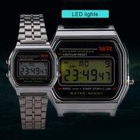 Женские Мужские часы Золотые Ретро светодиодные цифровые спортивные военные наручные часы электронные цифровые часы