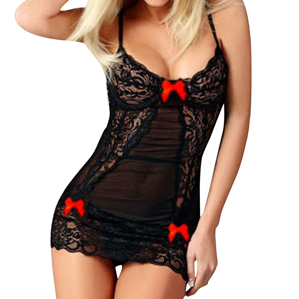 Sleep & Lounge Clothes Babydoll Erotic Sexy Bow Nightdress Black Sexy Lovely Lingerie Hot Women Slee