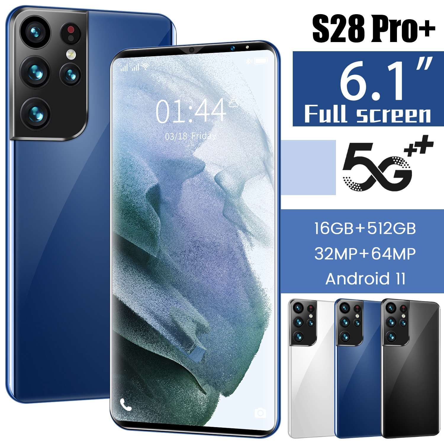 Global Hot Sale S28 Pro+ 5G 1440*3200 6.1' Full Screen 16 512GB 6000mAh Face Recognition Multi-Language Support Smartphone