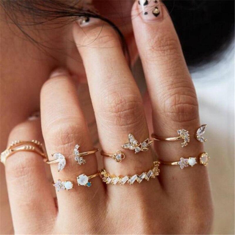 HuaTang Boho Strass Ringe für Frauen Gold Farbe Herz Carving Welle Kristall Knukle Hochzeit Ringe Set Schmuck Anillos