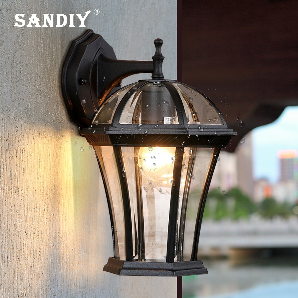 SANDIY الرجعية الجدار مصباح مقاوم للماء IP65 الزجاج الشرفة مصباح في الهواء الطلق خمر الشمعدان ل فناء بوابة خارج الجدار الإنارات