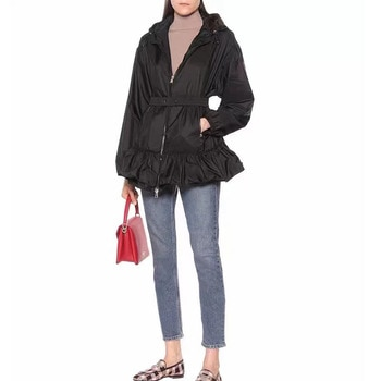 Women High Quality Summer Coat With Elastic Sash Hooded Ruffles Casual Trench Female Slim Out Dust coat