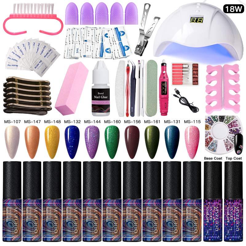 Juego de uñas con brillo MSRUIOO, secador de lámpara LED UV con Kit de esmalte de Gel para uñas, juego de herramientas para remojar de manicura, taladro de uñas para herramienta de Arte de uñas