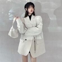 Autumn New Beige Profile Small Suit Female Padded Shoulder Wide Version Temperament Long Coat Blazer