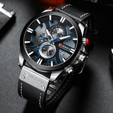 CURREN Fashion Chronograph Clock Men Leather Watch Casual Sport Watches for Men Quartz Wristwatch Re